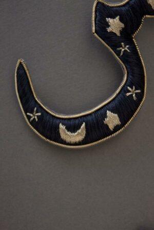 Black Stars and Moon Alphabet Charm