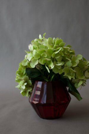 Red Faceted Vase